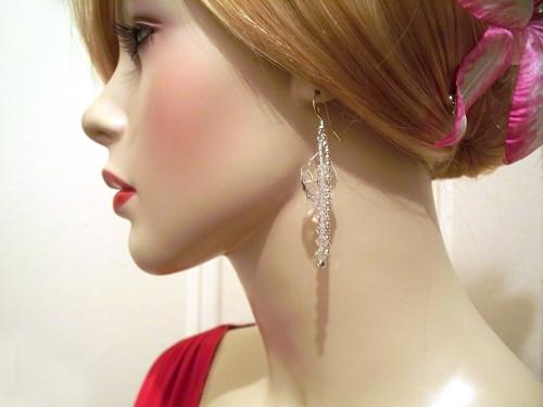 Birch Earrings Dangle Crystal Sterling Silver Wrapped Bridal Jewelry
