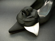 Black Camellia Bridal Shoe Clips French Flower Accessories Wedding