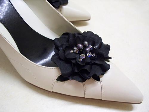 Black Satin Bridal Shoe Clips Audrey Gardenia w Black Pearls Crystals