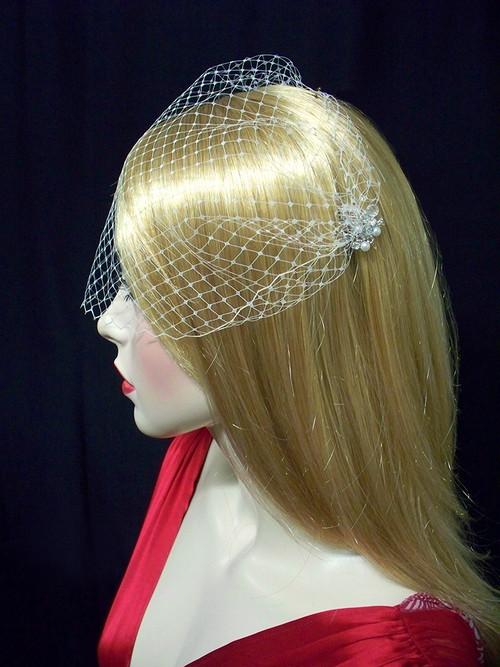 Bridal Birdcage Veil Champagne French Bandeau Wedding Veil Accessory