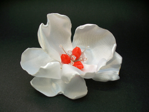 Bridal Couture White Magnolia Hair Flower Clip Coral Crystal Accessory