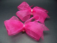 Bridal Fuchsia Pink Organdy Bow Shoe Accessories w Swarovski Crystals