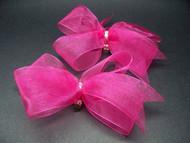 Bridal Fuchsia Pink Organdy Bow Shoe Accessories w Swarovski Crystals