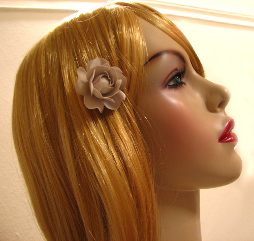 Bridal Gardenia Hair Accessory Handmade Silk Flower Bobby Pin Seashell