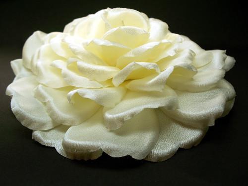 Bridal Hair Accessory Clip Large Ivory Rose Silk Wedding Veil Flower