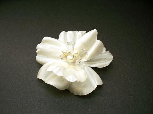Bridal Hair Accessory Silk Ivory Rose Hair Clip Pearls Swarovski