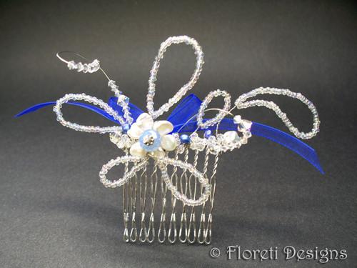 Bridal Hair Comb Blue Opal Swarovski pearl Veil Wedding Accessory