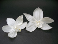Bridal Hair Flowers White Cymbidium Orchid Wedding Veil Accessory, 2