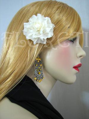 Bridal Ivory Gardenia Silk Flower Wedding Hair Clip Veil Accessory