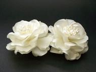 Bridal Ivory Magnolia French Silk Flower Hair Clip Wedding Accessory