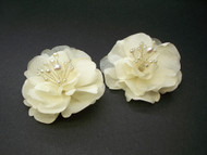 Bridal Ivory Silk Art Magnolia Hair Flower Accessory w Pearls Set of 2