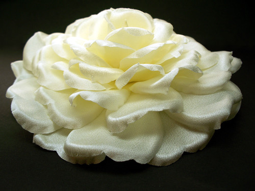 Bridal Large Ivory Silk Rose Hair Clip Veil Accessory Wedding Flower