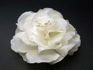 Bridal Light Ivory Silk Magnolia Flower Hair Accessory Veil Clip Large