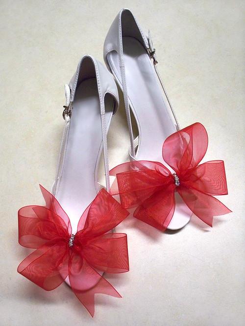 Bridal Shoe Clips Accessories Organdy Red Bow Swarovski Rhinestones
