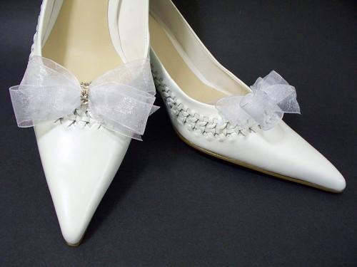 Bridal Shoe Clips White Organdy Bow Accessories Swarovski Crystals