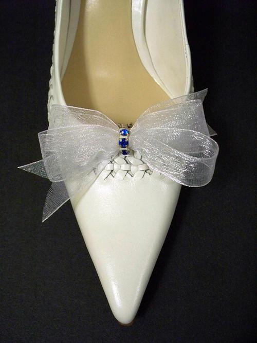 Bridal Shoe Clips White Organdy Something Blue Bow Accessory Swarovski