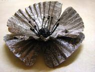 Bridal Silver Poppy Floral Wedding Hair Veil Accessory Brooch Pin