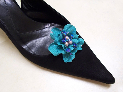 Bridal Something Blue Turquoise Gardenia Shoe Clips w Pearls Swarovski Crystals