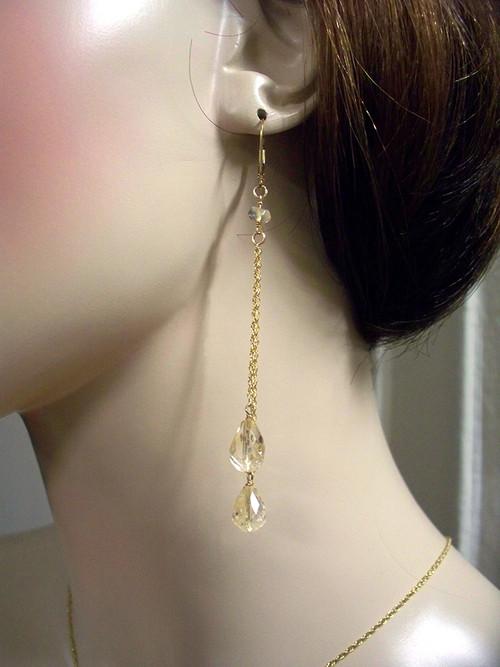 Citrine Briolette Dangle Earrings Opera Bridal Jewelry 14k Gold