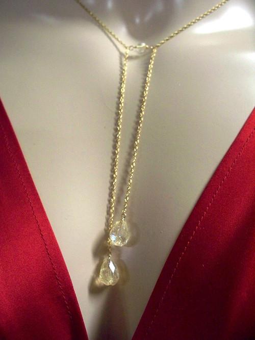 Citrine Briolette Necklace Opera Bridal Jewelry 14k Gold