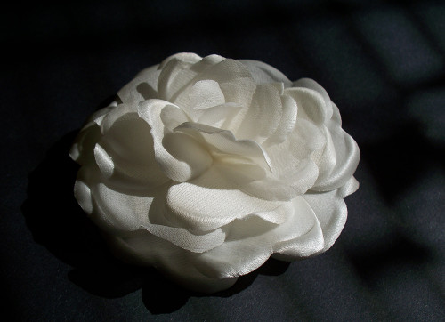 Couture Bridal Wedding Hair Flower Clip Off White Satin Rose Rochelle