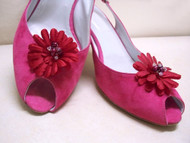 Couture Gerbera Daisy Bridal Shoe Clips Small Red w Pearls Crystals