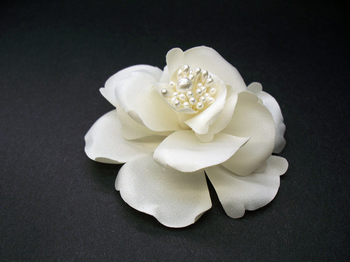 Couture Small Ivory Satin Magnolia Bridal Silk Hair Flower Accessory