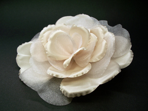 Couture Wedding Hair Flower Clip Pink Champagne Satin Rose Rochelle