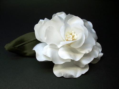 Couture White Magnolia Handmade Bridal Hair Accessory Wedding Flower