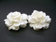 Couture Whtie Rose Flower Wedding Shoe Accessory Bridal Clips Set of 2