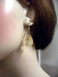 Dancing Citrine Large Dangle Earrings Opera Bridal Jewelry 14k Gold