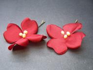 Deep Apple Red Dogwood Bridal Hair Pins w Pearls, Set of 2
