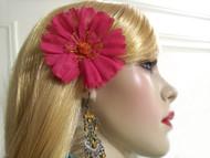 Gerbera Daisy Bridal Hair Clip French Silk Flower Bridesmaid Accessory