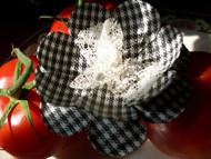 Gingham Camellia French Silk Flower Brooch Pin Hair Accessories
