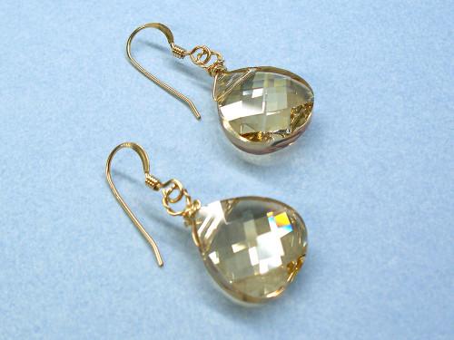 Golden Honey Comb Swarovski Dangle Earrings 14k Gold
