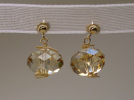 Golden Honey Drops Swarovski Dangle Earrings 14k Gold
