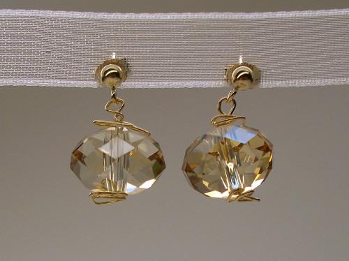 Golden Honey Drops Swarovski Dangle Earrings 14k Gold