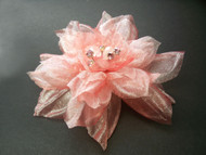 Hair Clip Dress Pin Golden Pink Organdy Camellia Swarovski Gemstones