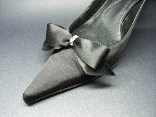 In Tiffanys Style Satin Black Bow Shoe Clips w Crystals Gift