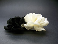 Ivory Black Miniature Polianta Rose Duo Hair Clip Wedding Accessory