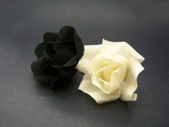 Ivory Black Miniature Rose Buds Duo Hair Clip Wedding Veil Accessory