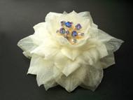 Ivory Camellia Hair Clip Dress Pin Accessory Organdy Swarovski pearl