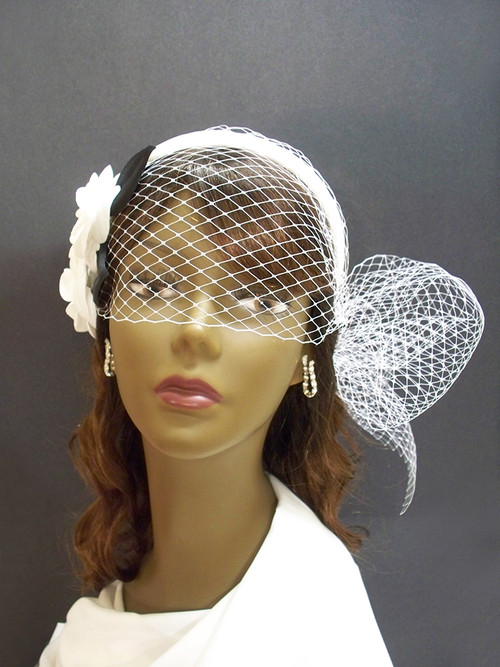 Ivory Camellia Wedding Birdcage Veil Headband Bridal Hair Accessory