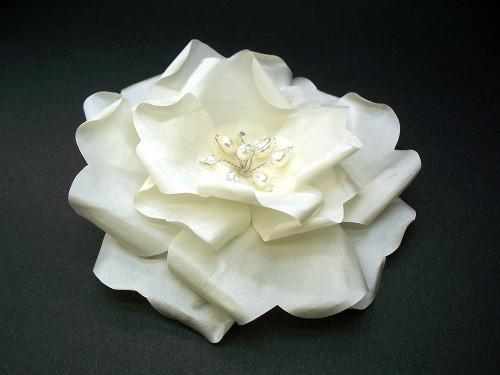 Ivory French Silk Rose Wedding Dress Bridal Accessory Pearls Swarovski