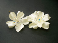 Ivory Gardenia Swarovski Blue Bridal Hair Flowers Wedding Accessory