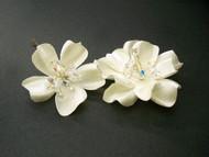 Ivory Gardenia Swarovski Blue Bridal Hair Flowers Wedding Accessory