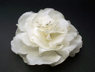 Ivory Magnolia Bridal Silk Flower Hair Clip Wedding Veil Accessory
