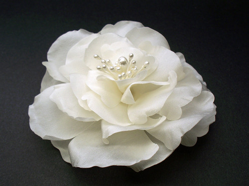 Ivory magnolia bridal silk flower hair clip wedding veil accessory mightylinksfo