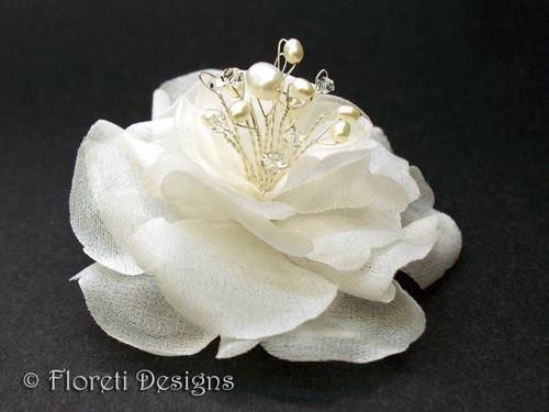 Ivory Magnolia Silk Flower Couture Bridal Hair Clip Swarovski Pearl