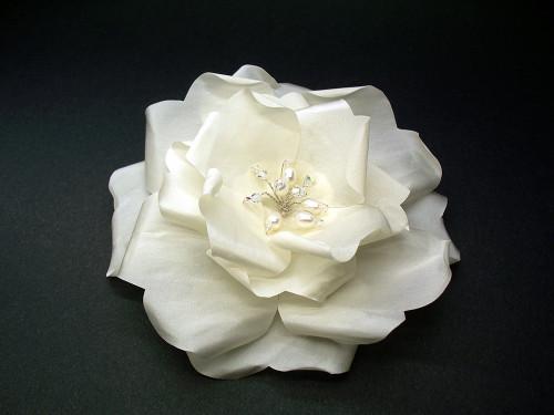 Ivory Rose Hair Wedding Dress Bridal Veil Accessory Pearls Swarovski